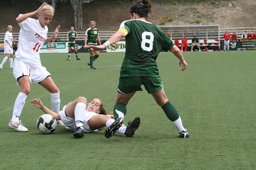Junior Ashley O'Brien fights for the ball against two Fairfield defenders on Sunday.  Picture by Melissa Stihl/Foghorn