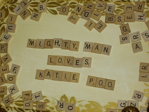 favors: scrabble tile magnets!