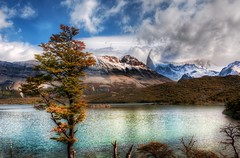Stopping for Lunch at the Emerald Lake in the Andes (and a new photo-sharing thing) (Stuck in Customs) Tags: world park travel wild sky terrain patagonia mountain lake snow cold color reflection tree water argentina argentine clouds america landscape lunch photography climb march high nikon day republic dynamic stuck natural outdoor hiking altitude south scenic peak hike shore andes wilderness top100 range emerald 2009 hdr trey customs stopping wildnerness ratcliff stuckincustoms d3x