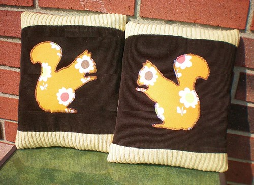 set of squirrel pillows