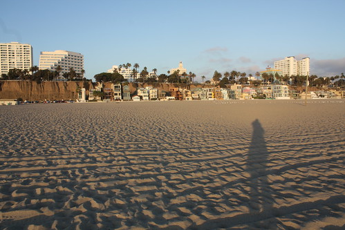 my shadow on the beach in santa monica