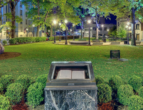 Bible monument in park off of Grand Avenue, in Saint Louis, Missouri, USA - view at night