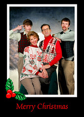 Thompson Family Christmas Card 2009 (Theresa Thompson) Tags: christmas family holiday photo funny humorous humour card ugly tacky awkward 2009 goodoldfashionfamilychristmas wardrobecomplimentsofgoodwill noteasytogetthekidsonboardwiththisone