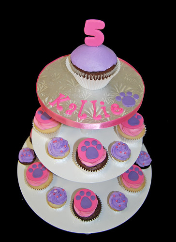 Pink and Purple Paw Print cupcake tower for a 5th birthday