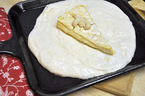 Brie, deli mustard, bread dough