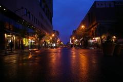 Montréal by night (Sous l'Oeil de Sylvie) Tags: street city urban canada rain nightshot montréal pluie québec lumiere ville urbain ruestecatherine longueexposition stecatherinestreet asphalte photodenuit