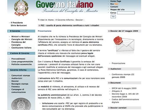 Governo Italiano - Dossier Posta Elettronica Certificata