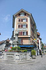 Lucern Building II (cwgoodroe) Tags: sun mountain lake snow alps green church statue ferry fairytale swimming switzerland boat europe locals suisse swiss sunny location farms movieset luce swissalps lucern medivil beerpasture
