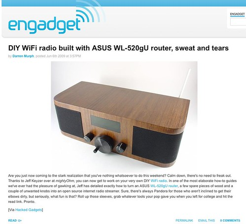 Wifi Radio project on Engadget!