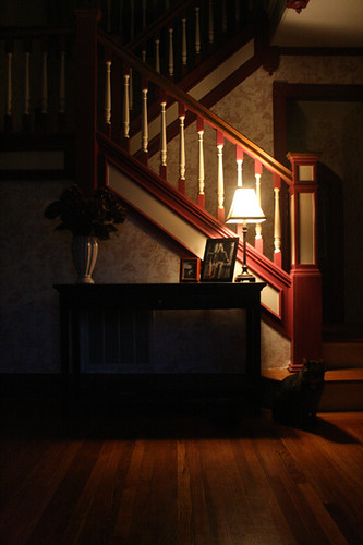 foyer with lamp