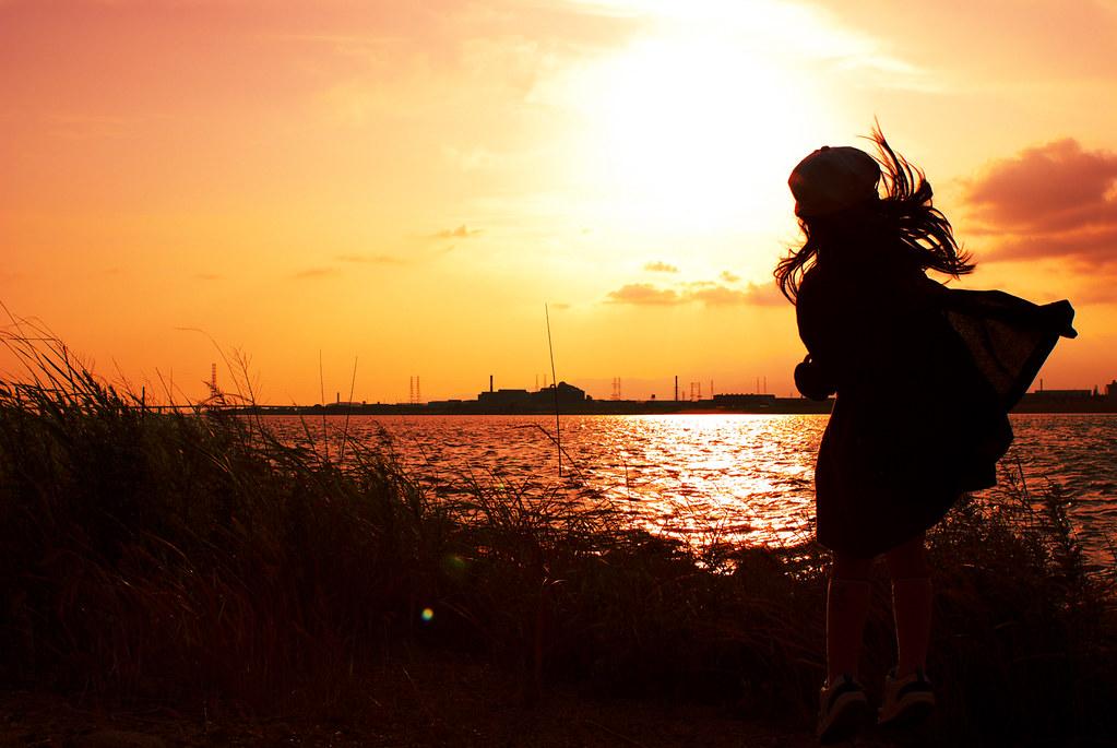 夕日と娘と淀川と。
