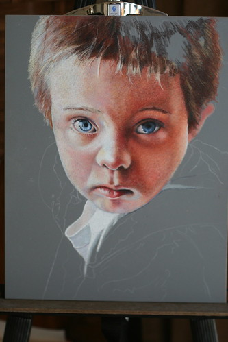In progress colored pencil portrait entitled Matthew.