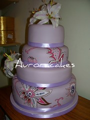 paisley wedding cake 2 (Pagancakegirl) Tags: pink wedding brown cakes cake 3d pattern different lily lilac aurora handpainted lillies unusual paisley dawns dl15red dawnscakes auroracakes wwwauroracakescom