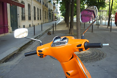 orange moped (lomokev) Tags: street trees orange paris tree pen transport perspective scooter olympus moped olympuspen shinny ep1 olympuspenep1 file:name=p6290166 yahoo:yourpictures=europeanmonuments