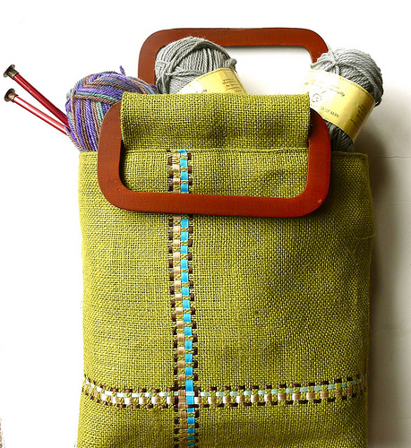 Burlap & Ribbon Bag