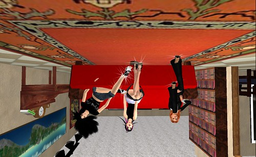 English Teacher, Me, & Burcu in Second Life at the upside down house