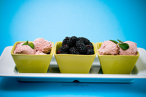 Blackberry flan ice cream