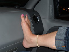 Foot on the dash (cjacobs53) Tags: pink sexy girl female foot friend girlfriend long toe nail polish ring dash sherry jacobs ankle calf anklet jacobsusa