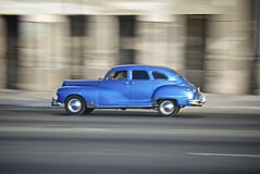 The Malecon, Cuba. (Franciscus51) Tags: auto holiday car raw havana cuba malecon habana panning classiccars oldcity bluecar lahabana americancar iphotooriginal elmalecon