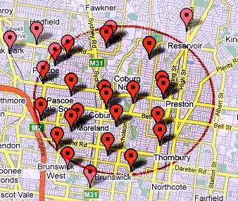 map showing Coburg area primary schools