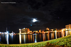 The Sarasota Bay View at night (Karanmohan) Tags: travel moon reflection water night bay interesting nikon florida explore moonlight sarasota fl srq d60