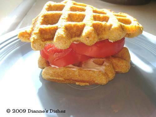Cornmeal Waffles: Tomato Sandwich