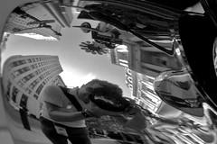 twisting the facts like the news (damonabnormal) Tags: street city sky urban blackandwhite bw distortion reflection philadelphia mirror nikon streetphotography warp warped september pa chrome friday phl 2009 215 funhousemirror meandmycamera d80