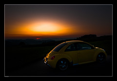 Beetle on a Wonderful Autumn Evening [19:55] ([bruno raffa]) Tags: auto autumn 1955 vw volkswagen stars evening abend herbst beetle newbeetle kfer knutwil yourcountry