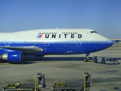 B747-400 by United (Passenger32A) Tags: blue sky chicago window plane airplane airport gate view flight ohare boeing airways departure runway 747 ua unitedairlines