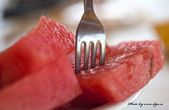 Watermelon (Deja Photo From Lens To Picture) Tags: red macro canon table lunch fork eat melon