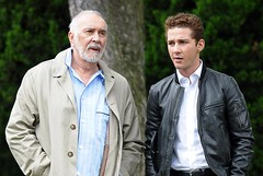 Shia+LaBeouf+Frank+Langella+Set+Wall+Street+3NddCePKTv1l (Cine Fanatico) Tags: park street new york city 2 stone wall frank walks oliver central before shia around filming labeouf langell