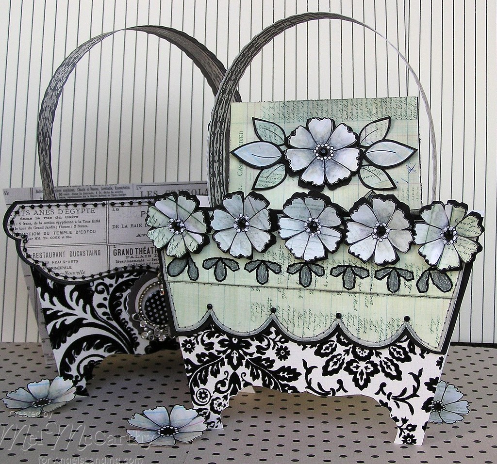 Pierced Backgrounds & Simply Flowers Purse (card box) melstampz title=