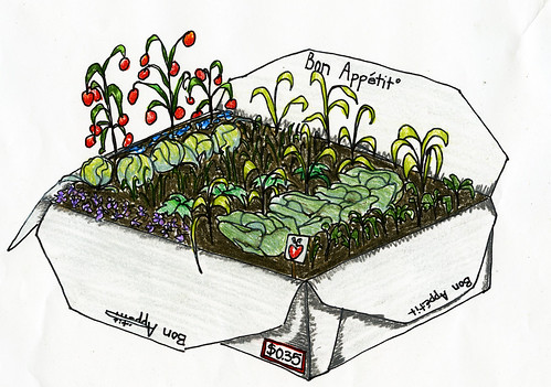 Bon Appetit has been charging students 35 cents per container to cut down on waste. These proceeds will benefit the Garden Project.  Illustration by Elizabeth Brown