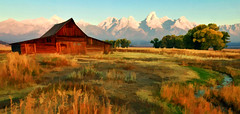 The Old West (Jeff Clow) Tags: morning barn raw searchthebest peaceful explore serene wyoming frontpage grandtetonnationalpark mormonrow theoldwest 1exp jacksonholewyoming moultonbarn jeffrclow photoartconversion digitalartconversion