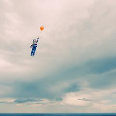 Flyaway (summerspot) Tags: boy sky clouds flying wind balloon dream minimalism