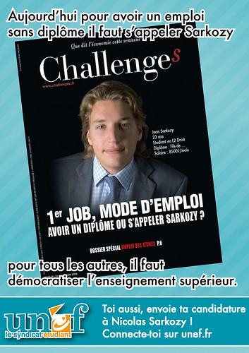 Affiche de l'UNEF sur Jean Sarkozy