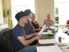Bodo, David, Grainne, Annelie,  and Rohan's arm practice dialog at the read through