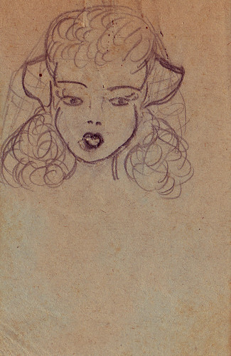 found sketch 1940s girl