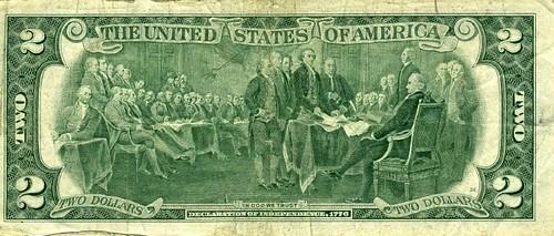2 dollarbiljet andere kant