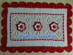 jogo p/banheiro branco e vermelho (Wilma croch) Tags: de para em jogo banheiro tapetes croch barbante