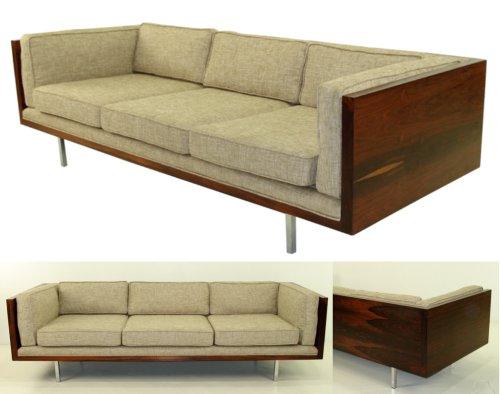 Elegant Modern Rosewood Tuxedo Sofa