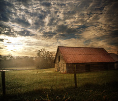 Morning Glory (evanleavitt) Tags: county wood morning autumn light sky texture beautiful clouds barn rural sunrise ga georgia amazing cool pond day darkness decay air country foggy olympus fresh weathered hdr barrow smells e510 photomatix waslookingforacoveredbridgeandallifoundwasthisbarn