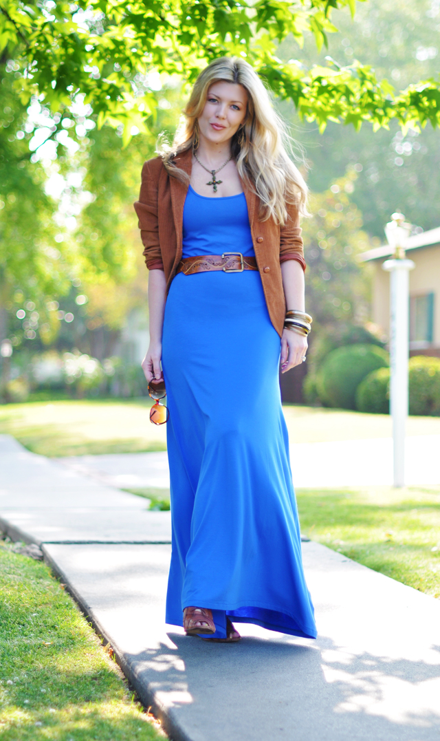 Blue Jersey Maxi  dress+   Cognac corduroy blazer