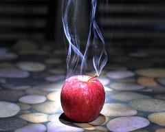 Smokin' Hot Apple! [EXPLORED] (Bhaskar Dutta) Tags: hot apple photoshop creativity fire cool stones smoke artificial smoking explore technique galleryoffantasticshots