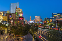Vegas Strip (clarsonx) Tags: lasvegas nevada newyorknewyork strip planethollywood paris casino hotel city cityscape lighttrails traffictrails bluehour night dusk twilight longexposure neon signs