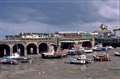 Class 31s Nos.31275+207 at the head of AIA Charters 'Canterbury Tales' excursion. Leaving  Folkestone Harbour 13 May 1995. (mikul44171) Tags: 31275 31207 aia charters folkestone harbour seagulls boats lowtide class31 tide canterburytales coalsector kent charter special diesel