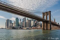 Skyline with Brooklyn Bridge (funtor) Tags: nyc usa bridge colors light skyline city manhattan skyscraper