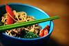 stir fry (ginnerobot) Tags: blue food green vegetables dinner table 50mm beef tasty bowl chopsticks noodles stirfry project365