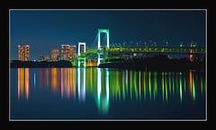 Rainbow Bridge (Aubrey Stoll) Tags: water japan reflections lights tokyo bravo asia cityscape tripod bridges nightshots 24mm fareast rainbowbridge longexposures honshu capitalcity ndx8 theunforgettablepictures nikond700 ostrellina graygraduatefilter