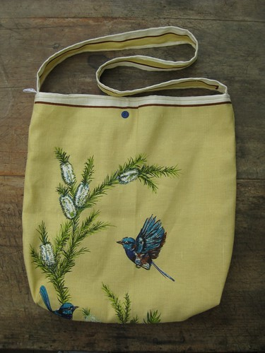 Blue wren vintage tea towel tote - back